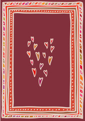 Valentine's day card, hearts in doodle frame. A6, A5, A4, A3 vertical size.