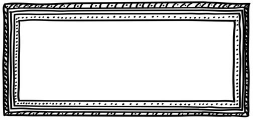 Black doodle frame. Horizontal DL size.