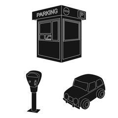 Parking for cars black icons in set collection for design. Equipment and service vector symbol stock web illustration.