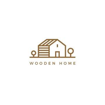 Vector line art logotype of wooden house. Abstract logo design for construction company or interior design studio