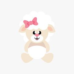 cartoon cute sheep girl sitting with bow