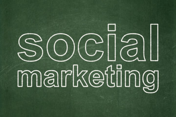 Marketing concept: text Social Marketing on Green chalkboard background