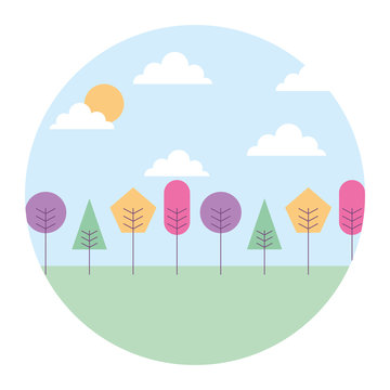 landscape natural trees and clouds with geometrical shape round design vector illustration