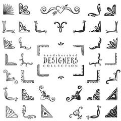Vintage decorative corners collection. Hand drawn vector design elements.