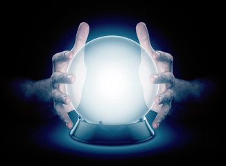 Hands On Crystal Ball And Cryptocurrency