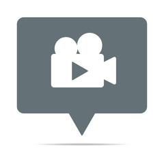 Graue Sprechblase mit Video