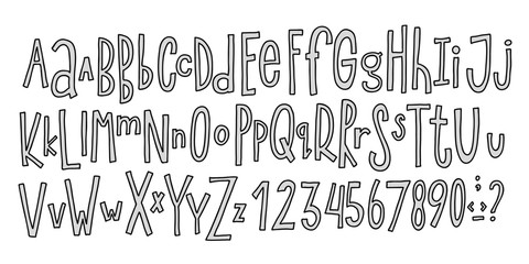 Doodle simple primitive kids alphabet, vector hand drawn letters elements. For kids books, posters, postcard typography
