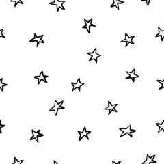 Cosmos space stars simple seamless pattern. Endless galaxy inspiration graphic design typography element. Hand drawn Cute simple vector background.