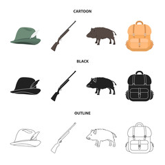 A hunting hat with a feather, a wild boar, a rifle, a backpack with things.Hunting set collection icons in cartoon,black,outline style vector symbol stock illustration web.