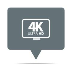 Graue Sprechblase mit 4K Ultra HD