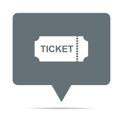 Graue Sprechblase mit Ticket