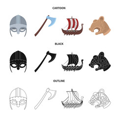 Viking helmet, battle ax, rook on oars with shields, dragon, treasure. Vikings set collection icons in cartoon,black,outline style vector symbol stock illustration web.