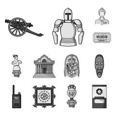 Museum and gallery monochrome icons in set collection for design. Storage and exhibition of showpiece vector symbol stock web illustration.