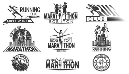 A set of monochrome design of logos, badges for a running tournament, a sports team, a marathon. Vector illustration.
