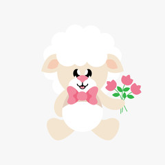 cartoon cute sheep sitting with tie and flowers