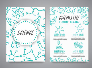 Science banners set. Research outline icon. Tiny line vector elements. Laboratory and education brochure. Medicine, technology, chemisrty