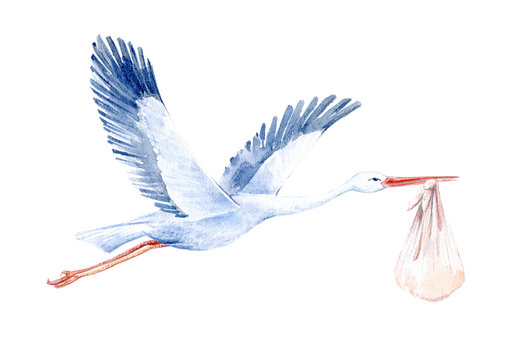 Stork with baby.Newborn picture. Watercolor hand drawn illustration.White background.