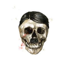 Human Skull - Male. Watercolor Illustration.