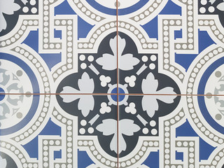 old tile mosaic in oriental style pattern design background