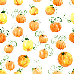 Seamless pattern of orange pumpkins watercolor on a white background.