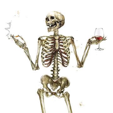 Human Skeleton holding cigarette and wine. Watercolor Illustration.