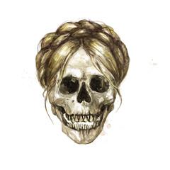 Human Skull - Female. Watercolor Illustration.