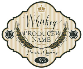 Vector label for whiskey in the figured frame with crown, ears of barley and handwritten inscription on striped background in retro style