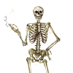 Human Skeleton holding cigarette. Watercolor Illustration.
