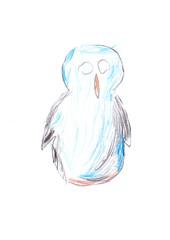 Kinderzeichnung: Der Vogel der nichts sehen kann