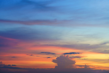 The beauty of colorful clouds in twilight background