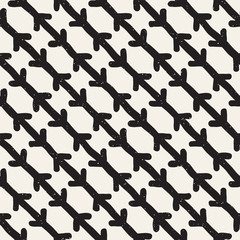 Hand drawn style ethnic seamless pattern. Abstract grungy geometric background in black and white.