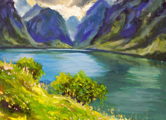 Oil painting Green Coast, blue turquoise river see, great blue mountains landscape, sun bright clouds nature floral artwork modern