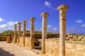 ruins of ancient columns in the Paphos Museum, Cyprus