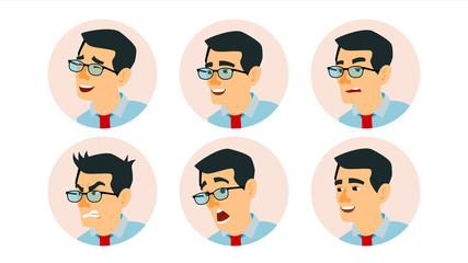 Asian Character Business People Avatar Vector. Asiatic Man Face, Emotions Set. Creative Avatar Placeholder. Cartoon, Comic Art Illustration