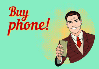 Friendly smiling man in a suit holding a smartphone. Retro advertising poster. Comic style hand drawn vector illustration.