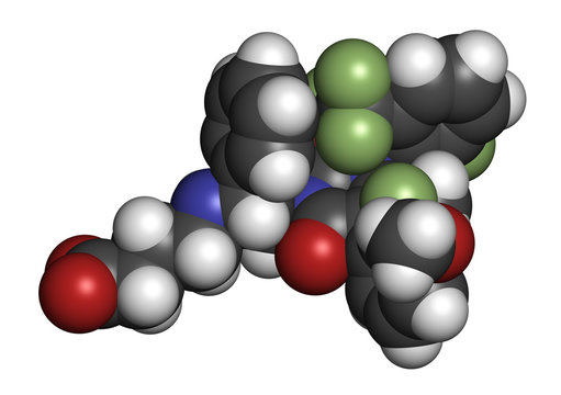Elagolix drug molecule (gonadotropin-releasing hormone receptor antagonist). 3D rendering. Atoms are represented as spheres with conventional color coding.