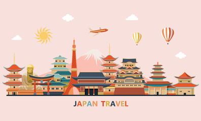Japan travel. Travel and tourism background. Japan skyline. Vector illustration
