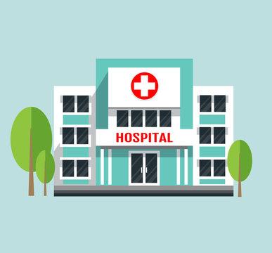 hospital building flat vector illustration.