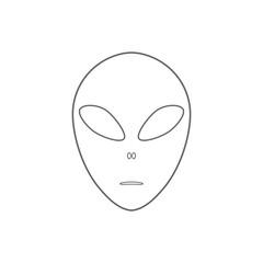 Alien face emoji. Martian head icon. Outline. Vector.