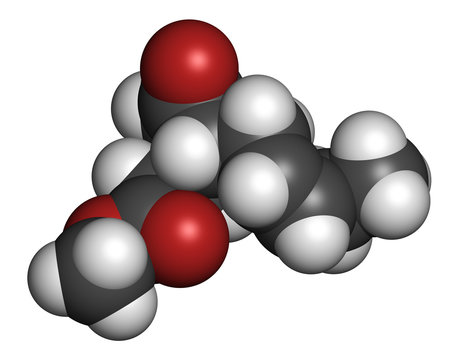 Methyl jasmonate plant stress signal molecule. 3D rendering. Atoms are represented as spheres with conventional color coding: hydrogen (white), carbon (grey), oxygen (red).