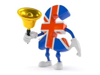 Pound currency character ringing a handbell