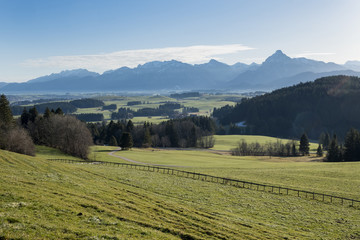 Germany, Bavaria, Allgaeu, East Allgaeu, Ammergau Alps with Saeuling