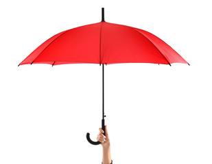 Woman holding stylish red umbrella on white background