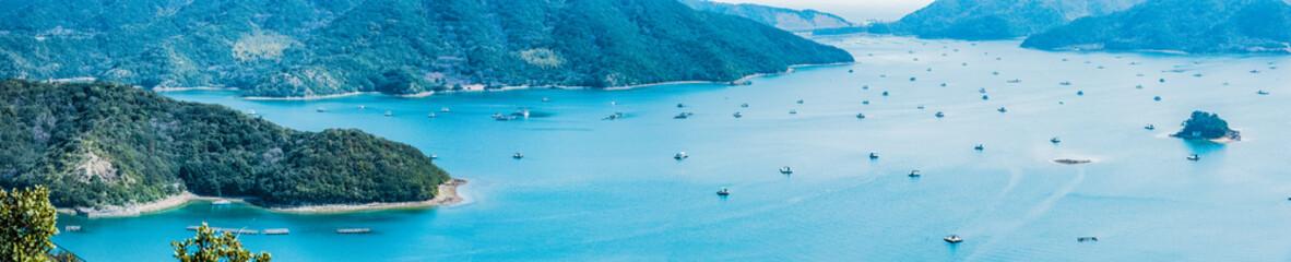 徳島、早春・内海の釣筏群