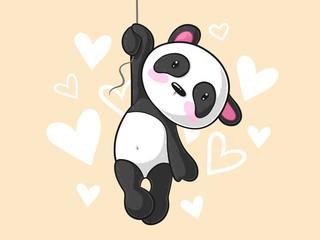 Hängender Comic Panda