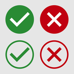 symbol yes or no icon,green,red on white background.Vector illustration