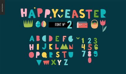 Kids flat alphabet set - Happy easter latin font - letters and digits