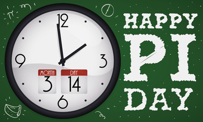 Chalkboard with Doodles and Clock with Hour for Pi Day, Vector Illustration