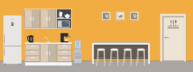 Office kitchen in yellow color. Dining room in the office. There is a fridge, a table, chairs, a microwave, a kettle and a coffee machine in the image. There are also pictures on the wall. Vector