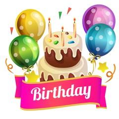 birthday tower tart with balloon